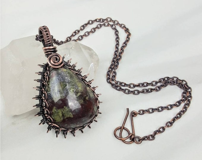 Bloodstone Copper Wire Wrapped Holistic Healing Crystal Stone Cabachon Necklace Jewelry Green Red Gray Men Women
