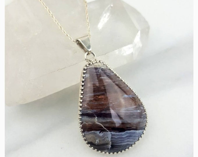 Grounding, Calming, Worry Less • Petrified Wood Handmade Sterling Silver .925 Healing Crystal Stone Brown Necklace Women Gift