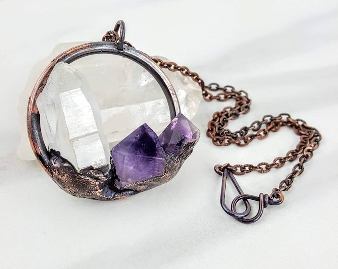 Quartz & Amethyst Clear Purple Copper Electroformed Crystal Stone Necklace