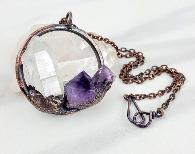 Quartz & Amethyst Copper Electroformed Holistic Healing Raw Crystal Stone Purple Clear White Necklace Jewelry Men Women