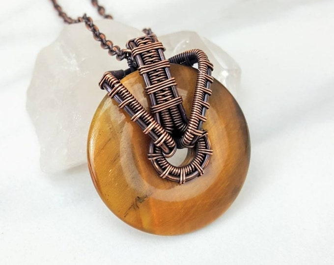Tiger's Eye Copper Wire Wrapped Holistic Healing Crystal Stone Necklace Jewelry Men Women