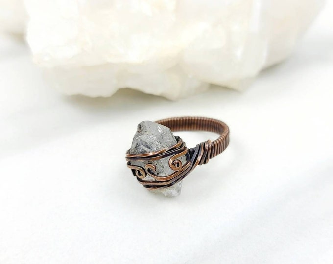 Herkimer Diamond Size 9 Copper Wire Wrapped Ring Jewelry for Men and Women Unisex