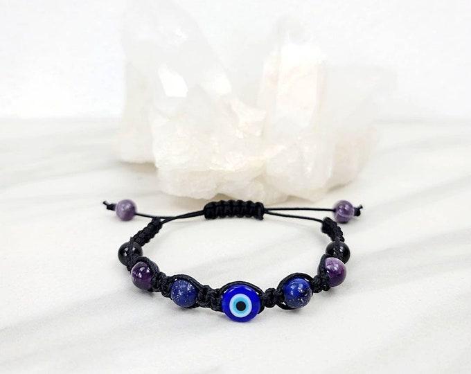 Evil Eye Protection Macrame Bead Bracelet Black Tourmaline Amethyst Lapis Lazuli