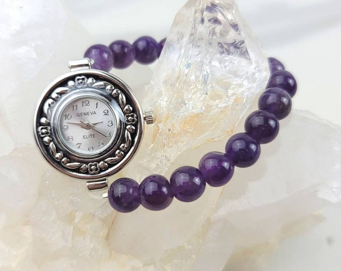 RESERVED for Denise - Amethyst Crystal Bead Purple Watch