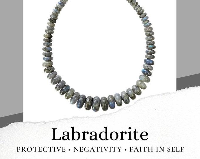 Labradorite Blue Gray Crystal Stone Beaded Necklace