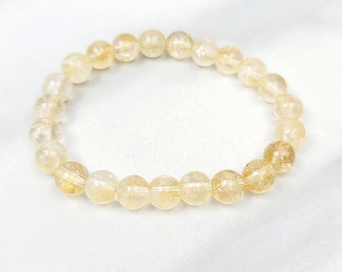 Citrine Yellow Spiritual Holistic Healing Crystal Stone Bead Stretchy Bracelet Jewelry Unisex Men Women Kids