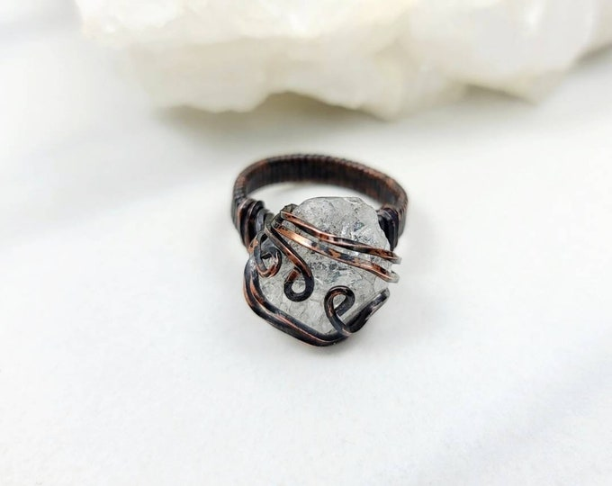 Herkimer Diamond Size 7 Copper Wire Wrapped Ring Jewelry for Men and Women Unisex