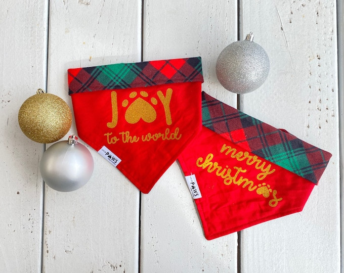 Merry Christmas & Joy to the World Reversible Bandana