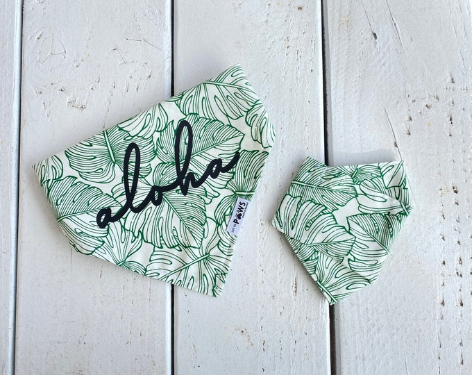 Aloha Monstera Bandana + Matching Face Mask