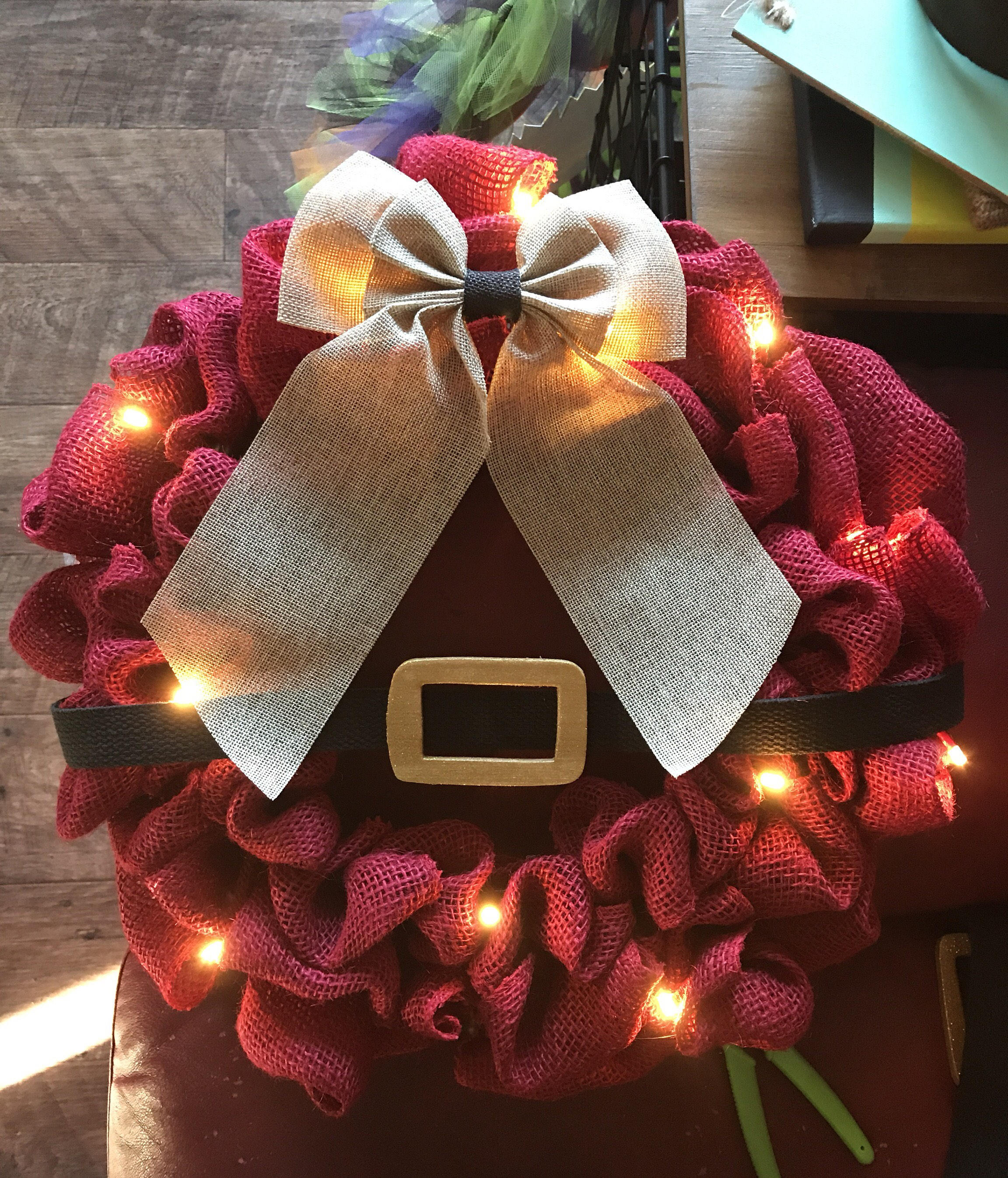 Santa Light Up Christmas Wreath | Etsy