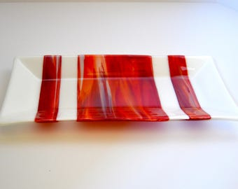 Red serving tray, Fused glass tray, Red and white platter