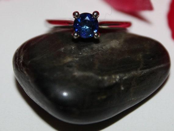 659613ce4efff2 Blue Sapphire/18k/ White Gold/ Engagement Ring | Etsy