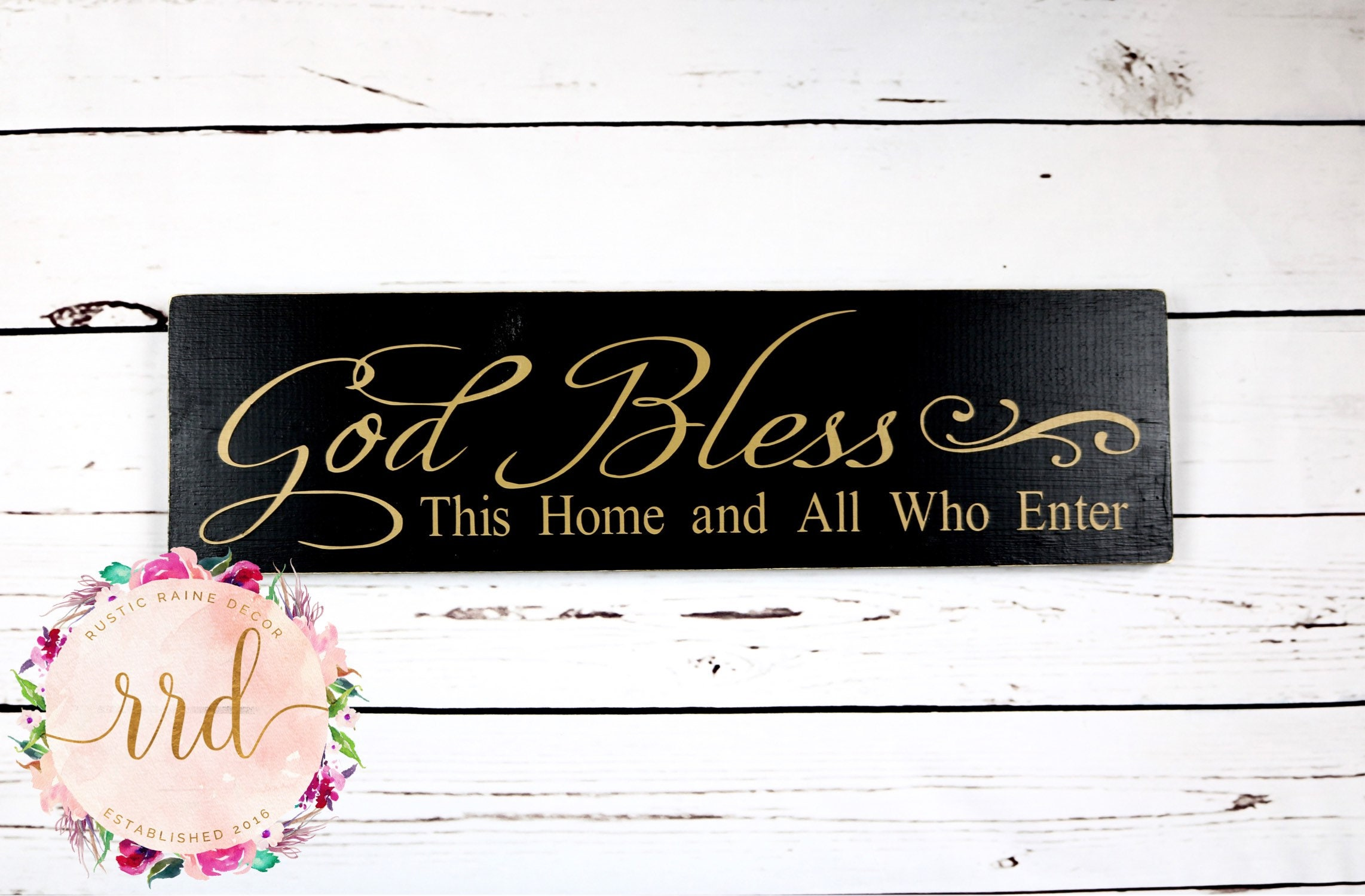 God Bless This Home and All Who Enter Hand Painted Unframed