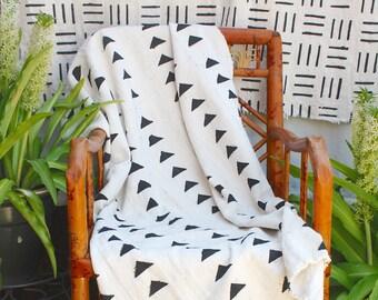 African Mud Cloth,  Black Triangles, Bogolan Throw, Natural Fabric, Boho  #442WB