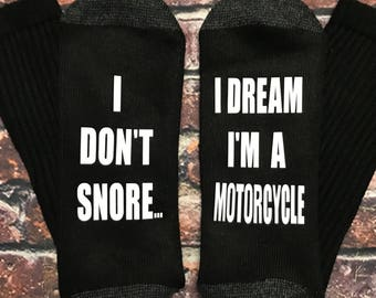 Dad gift, Gifts for dad, I don't snore I dream I'm a motorcycle socks, The ORIGINAL motorcycle socks, Thick & Soft Socks!