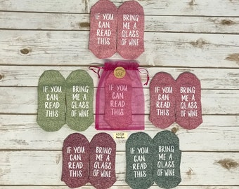 Wine Socks. FREE gift bag. 50% off. If you can read this, Bring me a glass of wine. Bridesmaid Gift. Bachelorette Party. Birthday for her.