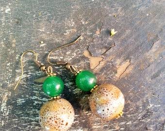 Kelly Green Aventurine and Taupe Ceramic Earrings, Earthy Round Taupe Ceramic Earrings, Boho Aventurine and Ceramic Earrings