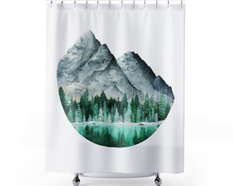 Mountain Landscape Shower Curtain Forest Decor Minimalism Nature Bathroom Watercolor