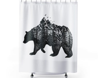 Grizzly Bear Shower Curtain Forest Double Exposure Black And White Minimalism Rocky Mountain