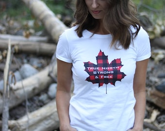 Women's T-shirt, Canadian Apparel, True North Strong and Free, Lumberjack Plaid, Ladies Fashion, Maple Leaf, Canada