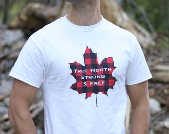 Men's T-shirt, Canadian Apparel, True North Strong and Free, Lumberjack Plaid, Men's Fashion, Canada, Patriotic Top, Maple Leaf
