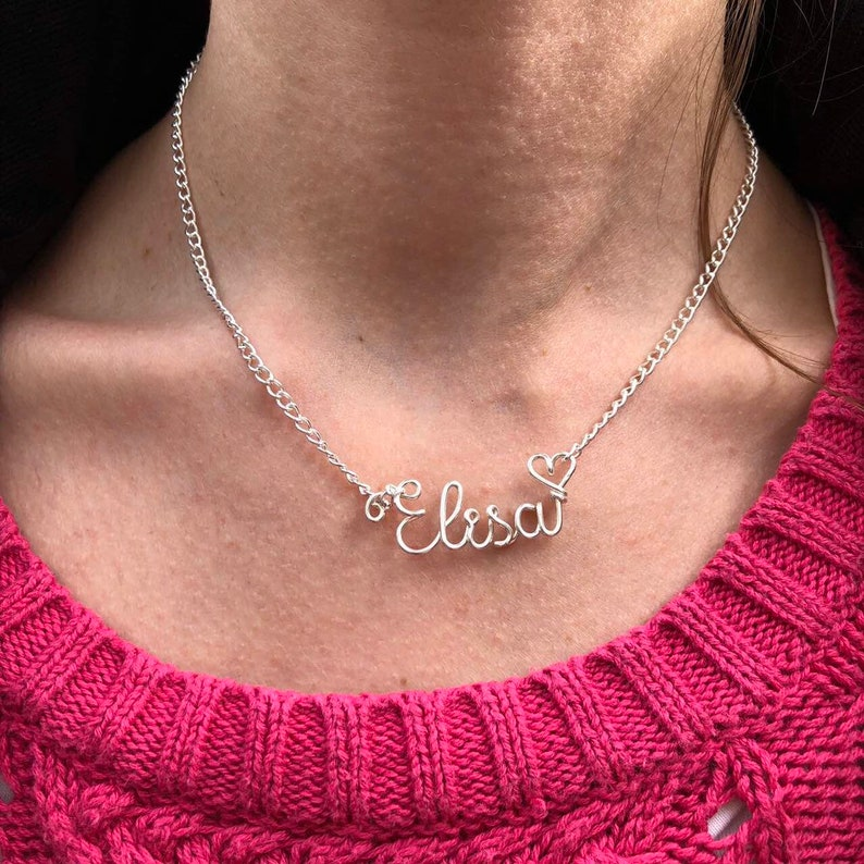 Elisa Silver Wire Name Necklace Personalised Jewellery Unique Gift Handmade Letter Jewellery Name Jewellery by Kolezi Bros