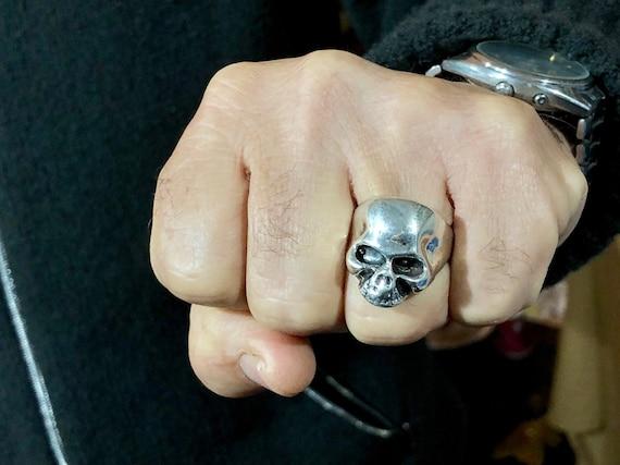 Skull Ring Sterling Silver Mens Ring Gents Ring Skull Jewelry Handmade Skull Ring Heavy Skull Ring