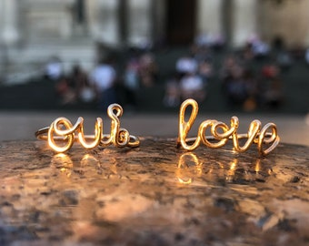 Love Gold Ring oui ring, oui gold ring, oui silver ring, oui rose gold ring, oui engagement ring, best gift for her, handmade oui ring