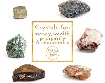 Set of 6 large crystals: Prosperity & abundance - aventurine, apophyllite, citrine, tiger eye, tree agate, pyrite