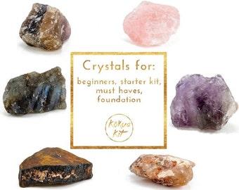 Set of 6 large crystals: Beginners - rose quartz, amethyst, citrine, tiger eye, labradorite, fluorite