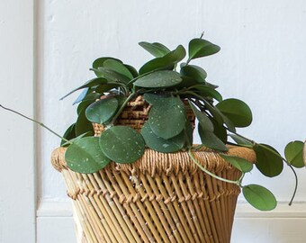 vintage boho jute rope and bamboo side table/ plant stand
