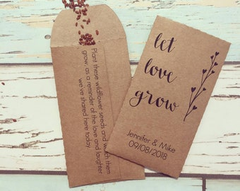Let love grow wedding favour Pack of 10 *SEEDS INCLUDED*  Wildflower seed wedding favour - Rustic wedding favour