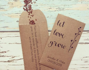 cd0686638 Let love grow wedding favour Pack of 10 - Wildflower seed wedding favour -  Rustic wedding favour