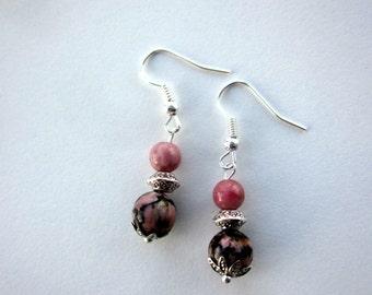 Pink and Black Rhodonite Earrings