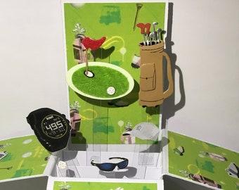 Golf Pop Up Box CardHappy Birthday UpFathers Day UpHusband Upson UpGrandfather UpRetirement UpWell Done Card