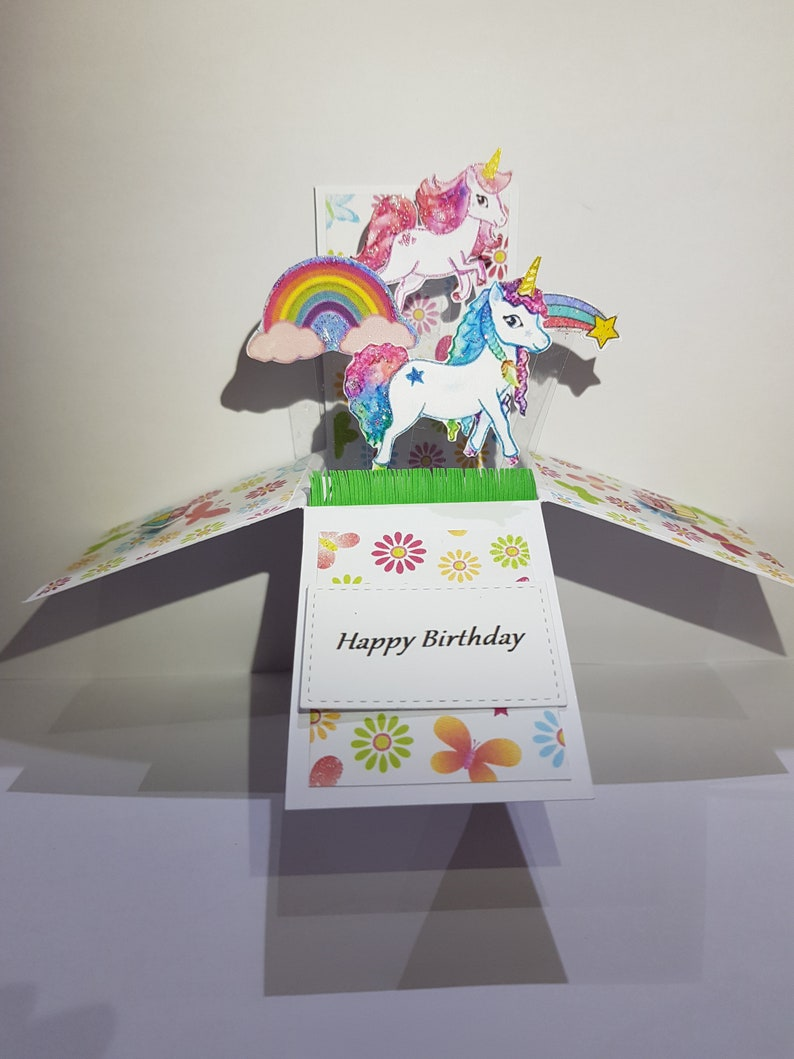 unicorn pop up box cardhappy birthday pop uplittle girl