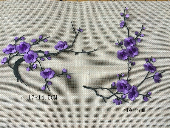 Blue Lavender Flower Embroidery Iron On Applique Patch