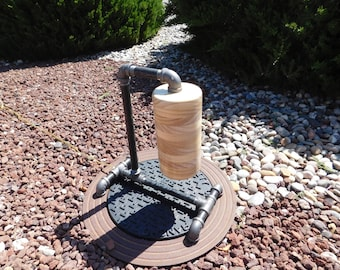 FREE SHIPPING - USA - Black Iron Pipe Lamp With Pine Cylinder Shade