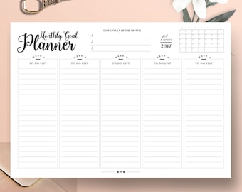 Monthly Goal Planner - Monthly Planner - Productivity Planner - Work Planner - A4 Planner & US Letter Planner - Instant Download Planner
