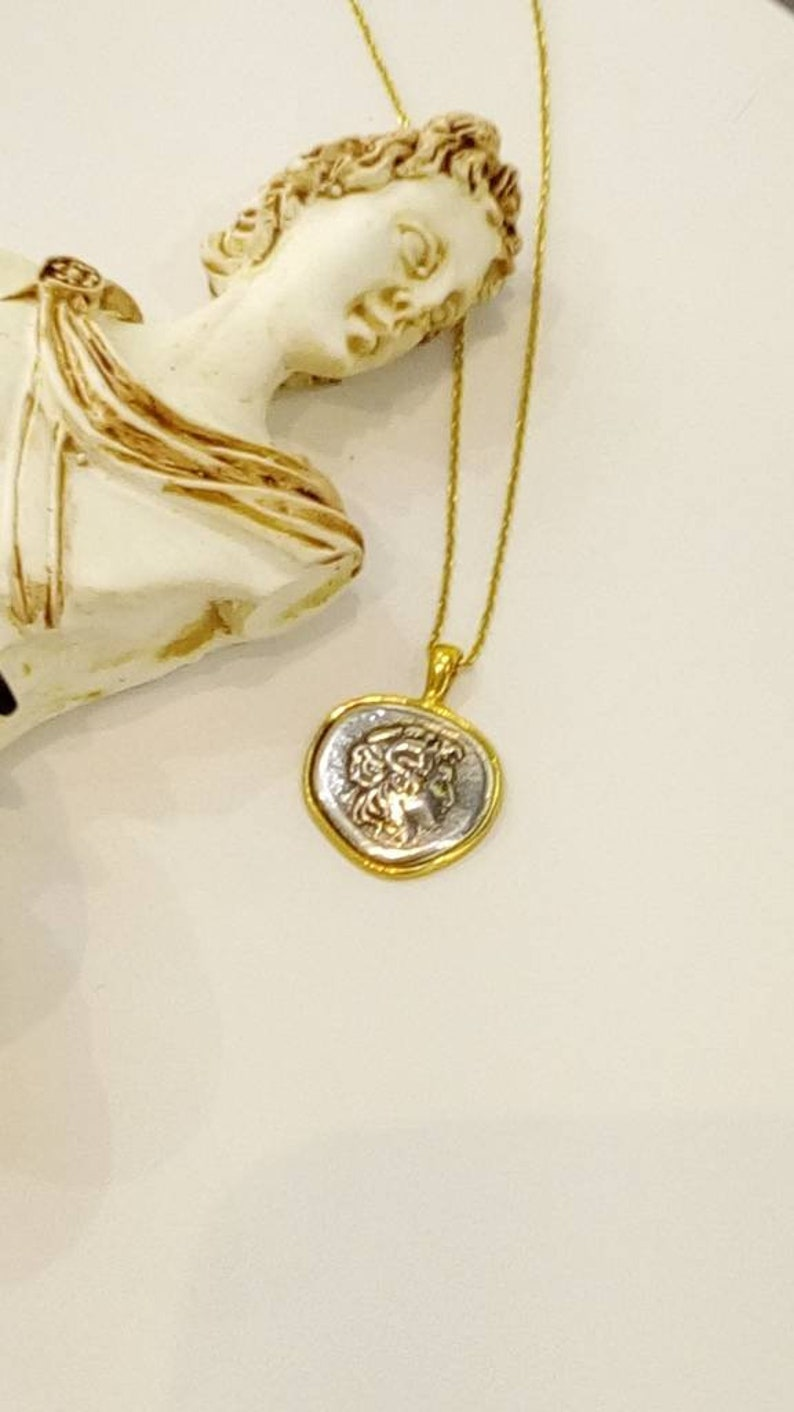 Alexander the Great Silver Pendant with Silver Chain