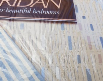 Stiped Geometric Blue and Beige Vintage Single Twin Flat Sheets x 2 - Set 1