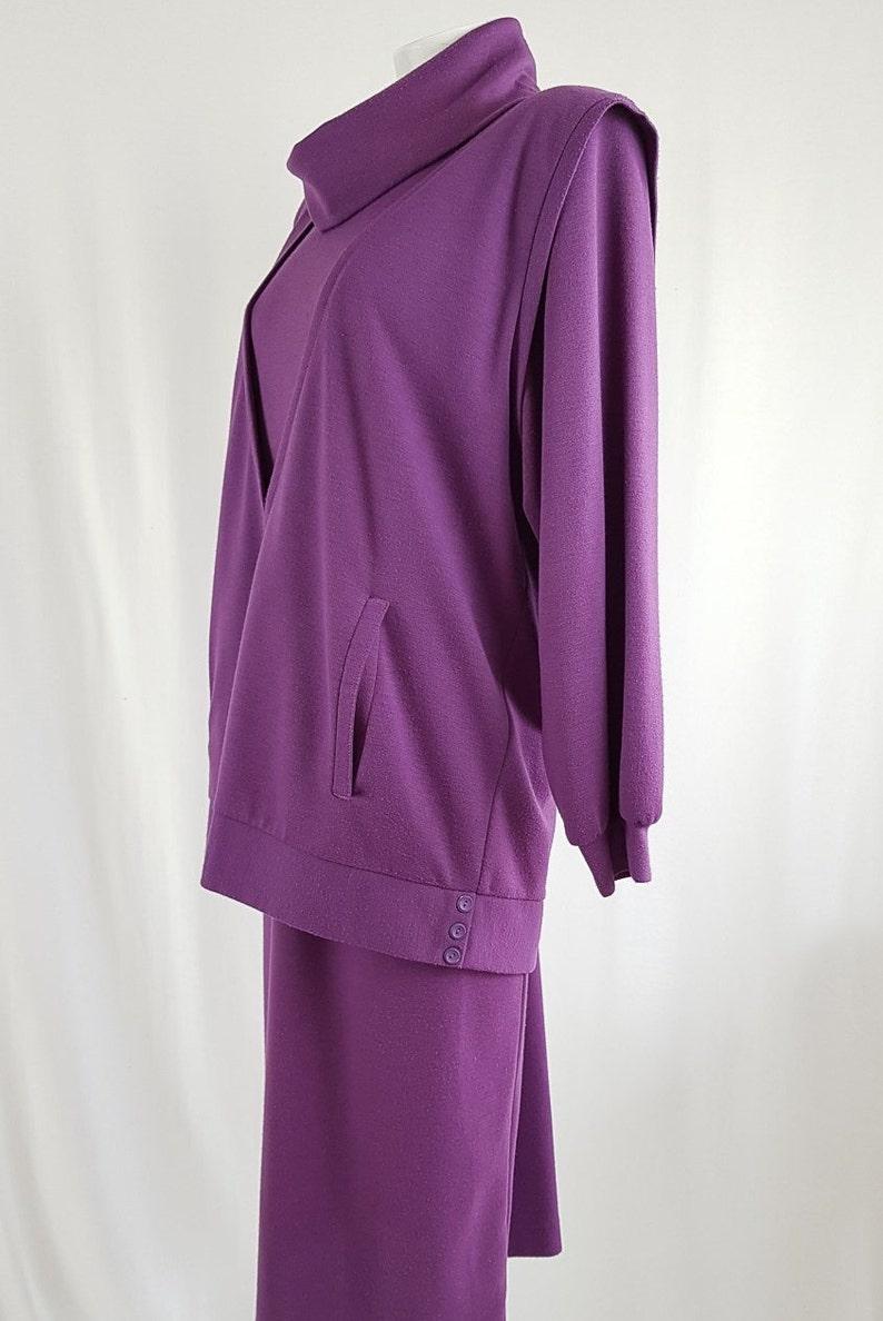 Medium Vintage 1980s Layered Purple Pinafore Winter Dress by Ricki Renee