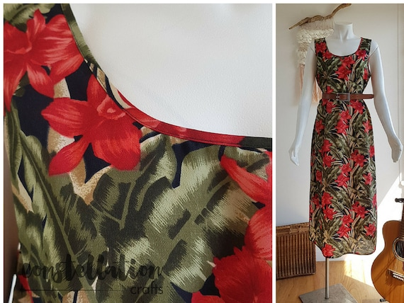 XXL 1990s Vintage Sundress with Red and Green Trop