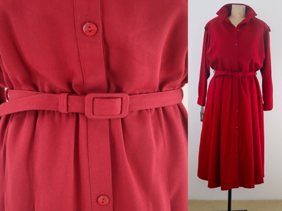 Vintage Red Trench Coat Dress with Pockets ||