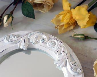 "Round mirror ""Megaras"" decorated Plaster Element / Shabby Chic Wall Mirror / Circle Wooden Mirror / Rustic Vintage Style / Unique Mirror"
