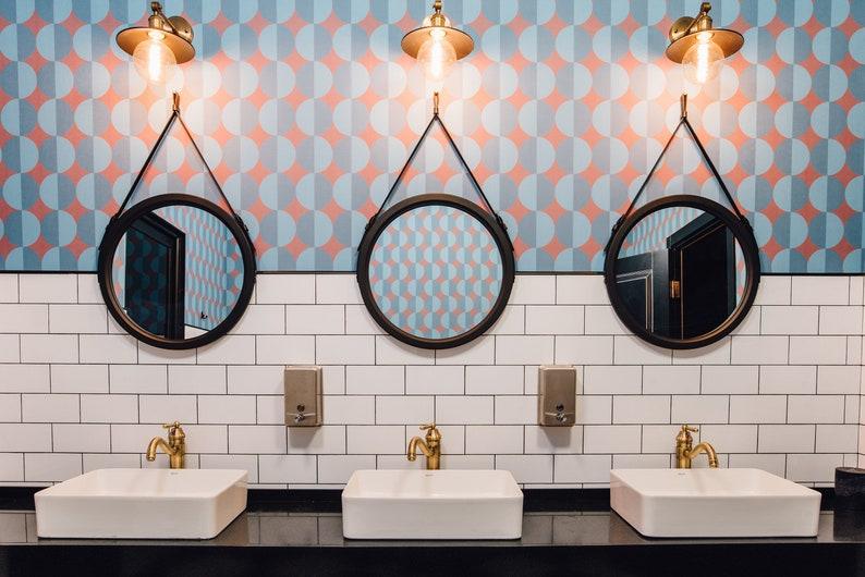 Black Round Mirror Paris Leather Circle Mirror Scandinavian Style Mirror Minimalist Modern Style Strap Wall Mirror Loft Style
