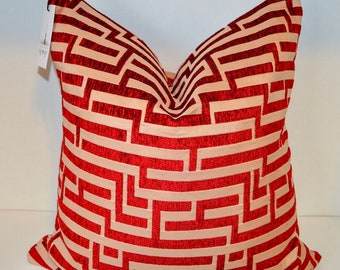 Red Desire Greek Key Pillow