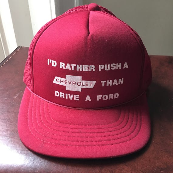 Vintage Chevrolet Trucker Hat Maroon One Size Funny Anti Ford Etsy