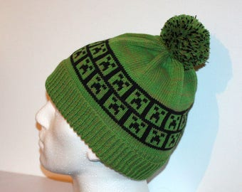 dced8c420d4 Grass Green beanie hat with Minecraft Inspired Creeper - with or without  pompom option - teens upto Adults size
