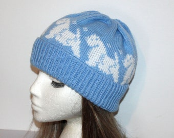 89c75cf1d9d White West Highland Westie Westmoreland Terrier Dogs Blue Beanie Hat - with  or without pompom - Teenager to Adult size